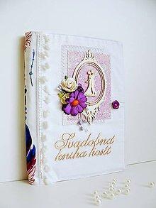 Papiernictvo - Svadobná kniha hostí - Fialová - 8873464_