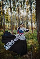 Šaty - Čierne ľanové šaty Slavianka - 8873614_