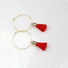 Náušnice - Zlaté kruhové náušnice s červeným strapčekom + 20 farieb - 8872751_