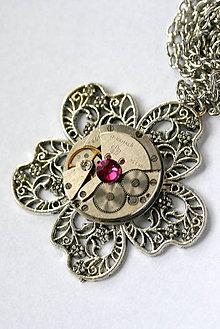 Náhrdelníky - Steampunkový náhrdelník Kvietok - 8868953_