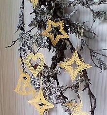 Dekorácie - paličkované vianočné ozdoby žlté - 8871990_