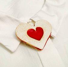 Odznaky/Brošne - linecké srdce-brošňa (nenakusnuté srdce) - 8869570_