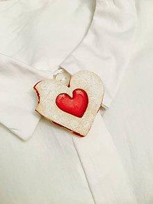 Odznaky/Brošne - linecké srdce-brošňa (nakusnuté srdce) - 8869575_