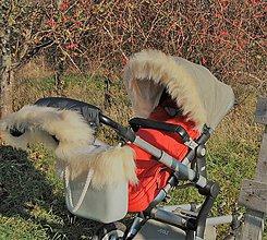 Detské súpravy - Kožušinková súprava na kočík a obag - 8875899_