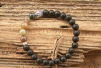 Šperky - Náramok onyx a indický achát - 8875042_