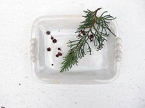 Nádoby - Keramická miska obdĺžniková perleťová - 8877392_