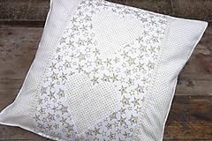 Úžitkový textil - Vianočná obliečka na vankúš smotanovo zlatá - 8873949_
