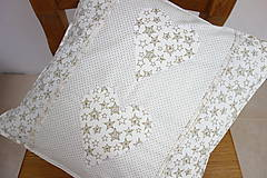 Úžitkový textil - Vianočná obliečka na vankúš smotanovo zlatá - 8873966_