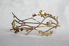 Ozdoby do vlasov - Mosadzný konárikový venček so zlatými kvetmi a guličkami - Slavianka - 8874552_