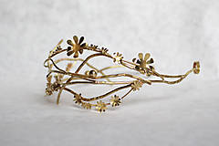 Ozdoby do vlasov - Mosadzný konárikový venček so zlatými kvetmi a guličkami - Slavianka - 8874553_