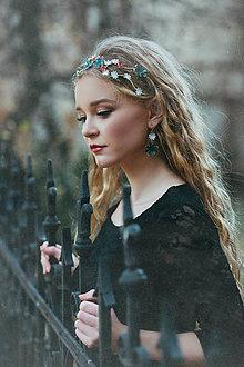 Ozdoby do vlasov - Dvojradová kvetinová mosadzná čelenka aj s modrou textúrou - Slavianka - 8874055_