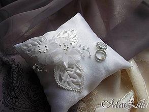 Prstene - Svadobný vankúšik pod obrúčky - 8876328_