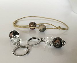 Sady šperkov - Náramok a náušnice z minerálov Krištáľ, rodochrozit - 8874992_