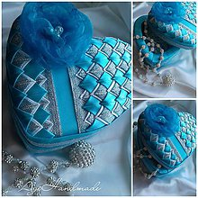 Krabičky - šperkovnica patchwork tyrkysové srdiečko - 8874416_