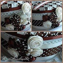 Krabičky - šperkovnica patchwork hneda bodka - 8874439_