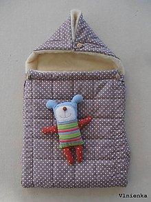 Textil - RUNO SHOP fusak pre deti do kočíka 100% ovčie runo MERINO TOP super wash BODKA hnedá - 8876117_