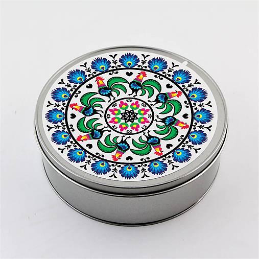 Plechová krabička okrúhla folk kvety kohúty B