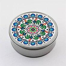 Krabičky - Plechová krabička okrúhla folk kvety kohúty B - 8879451_