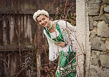 Šaty - Folkové šaty - zelený brokát - 8874011_