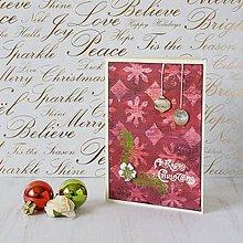 Papiernictvo - Happy and mixed media - bordové vianočné pohľadnice - 8874235_