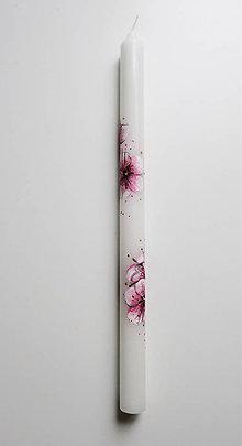 Svietidlá a sviečky - Sviečka na krst-čerešňový kvet - 8876521_