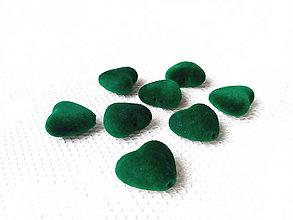 Korálky - Zamatové srdiečka - zelené - 8875748_