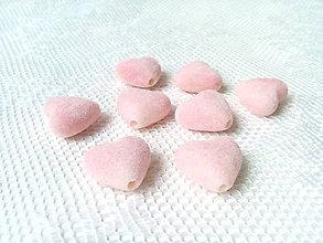 Korálky - Zamatové srdiečka - ružové - 8875759_