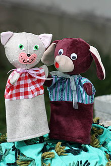 Hračky - Rozprávka. Psík a mačička Maňušky pre bábkové divadlo - 8878690_