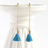 Malé visiace strapcové náušničky - tyrkysové modré + 20 farieb