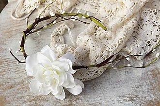 Ozdoby do vlasov - Kvetinová čelenka ,,biela ruža,, - 8878216_