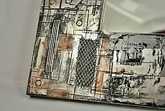 Zrkadlá - Zrkadlo Industriál - s kovovým efektom, čiernou alebo hnedou patinou a hrdzou (Čierna) - 8874634_
