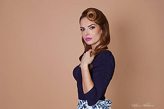 Tričká - Bambusový Top modrý riasené rukávy Ariel - 8878294_