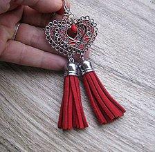 Náušnice - Veľké srdcové náušnice (Červené so strapcami č.1642) - 8876077_