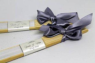 Darčeky pre svadobčanov - vejár strieborné písmo - 8874488_