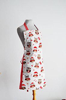 Iné oblečenie - Vianočná zásterka so sovičkami - 8875681_