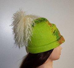 Detské čiapky - Dievčenská (detská) vlnená plstená čiapka s kožušinovým brmbolcom - 8874835_