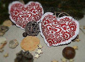 Dekorácie - Vianočné ozdoby - folklórne srdiečko na stromček 1ks - 8884566_