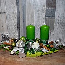 Dekorácie - Vianočná dekorácia zeleno-biela,dlhá - 8882996_