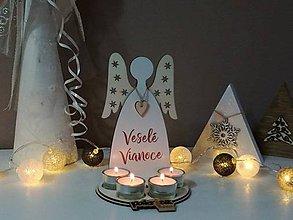 Svietidlá a sviečky - Adventný svietnik anjel - 8880799_