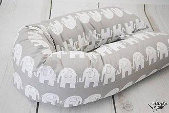Textil - Tehotenský vankúš / Vankúš na dojčenie sivý so sloníkmi - 8881776_