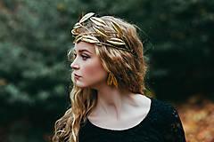 Ozdoby do vlasov - Mosadzný jedinečný konárikový venček s vytepanými listami - Slavianka - 8881402_