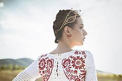Ozdoby do vlasov - Mosadzný exkluzívny konárikový venček s kvetmi, ruženínmi a guličkami - Slavianka - 8881861_