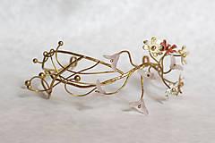 Ozdoby do vlasov - Mosadzný exkluzívny konárikový venček s kvetmi, ruženínmi a guličkami - Slavianka - 8881869_
