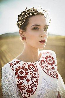 Ozdoby do vlasov - Mosadzný exkluzívny konárikový venček s kvetmi, ruženínmi a guličkami - Slavianka - 8881859_