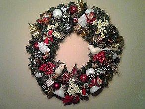 Dekorácie - vianočný veniec na dvere 45 cm RETRO štýl - 8884500_