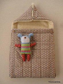 Textil - RUNO SHOP fusak pre deti do kočíka 100% ovčie runo MERINO TOP super wash Hviezdička béžová - 8884329_