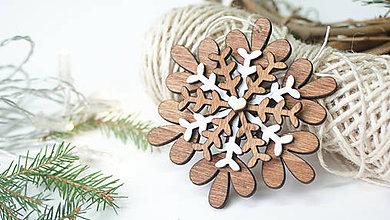 Dekorácie - Drevená vianočná vločka - 8883492_