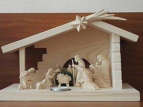 Dekorácie - Betlehem drevený s čajovou sviečkou - 8881952_