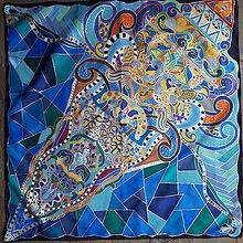 Šatky - Zmrzlinová- hodvábna maľovaná šatka - 8880184_