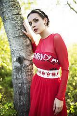 Šaty - Červené midi tylové šaty Slavianka - 8881516_
